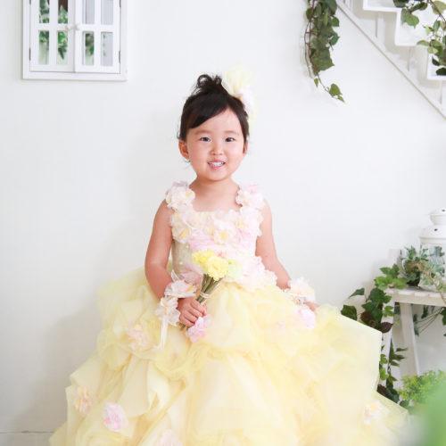 記念日 七五三 キッズ スタジオ撮影 大人気黄色のドレス